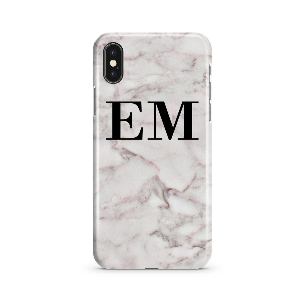 Personalised White Napoli Marble Initials iPhone XS Max Case