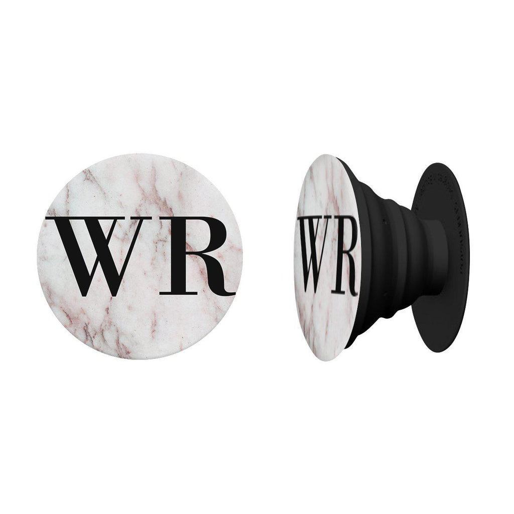 Personalised White Rosa Marble Initials Phone Grip