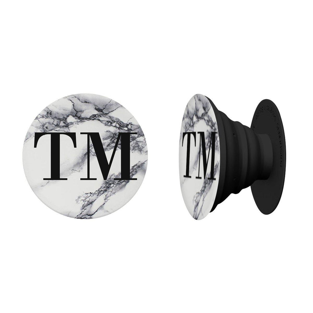 Personalised White x Black Marble Initials Phone Grip