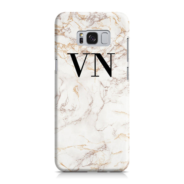 Personalised White Marble Initials Samsung Galaxy S8 Case
