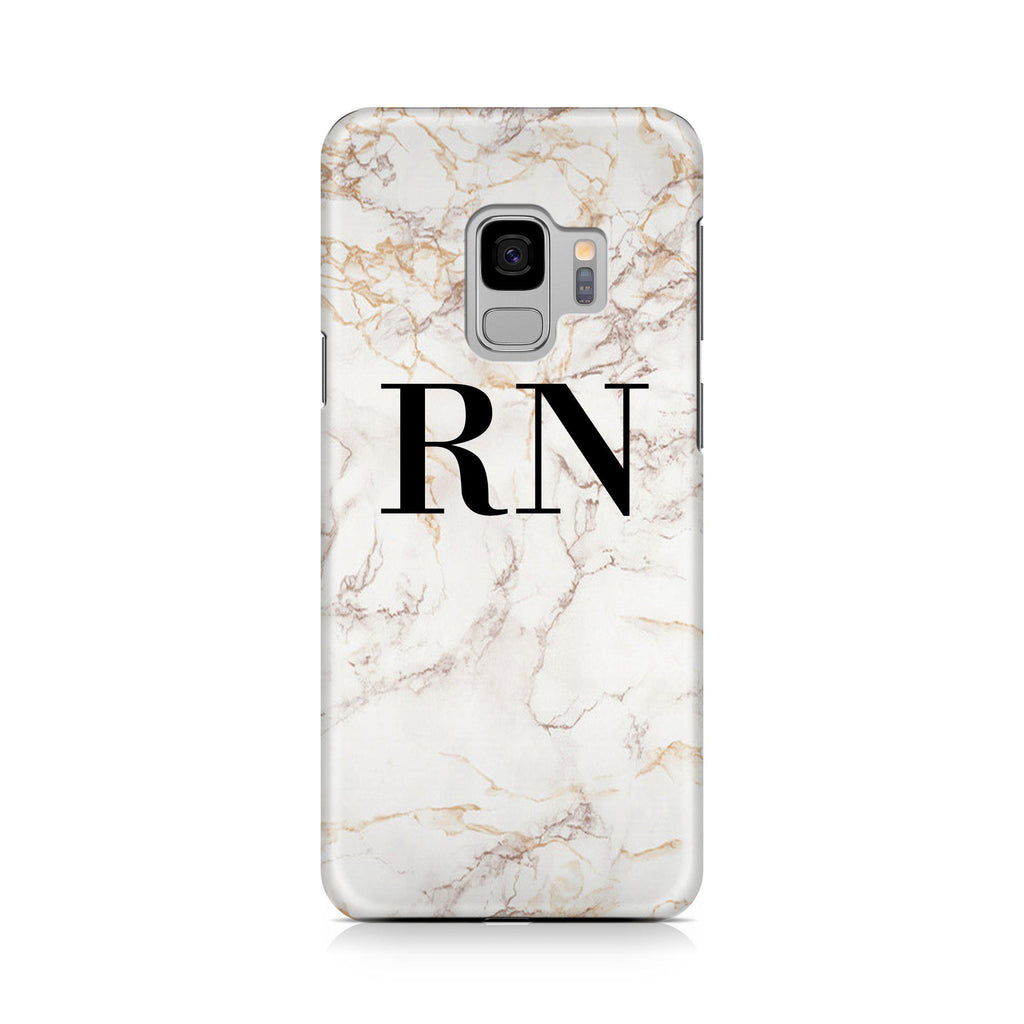 new concept c2980 b956e Personalised White Marble Initials Samsung Galaxy S9 Case