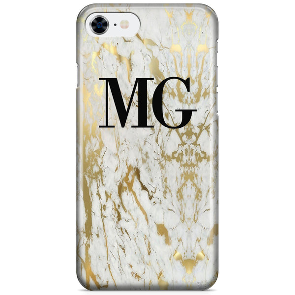 Personalised White x Gold Marble Initials iPhone 8 Case