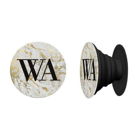 Personalised White x Gold Marble Initials Phone Grip