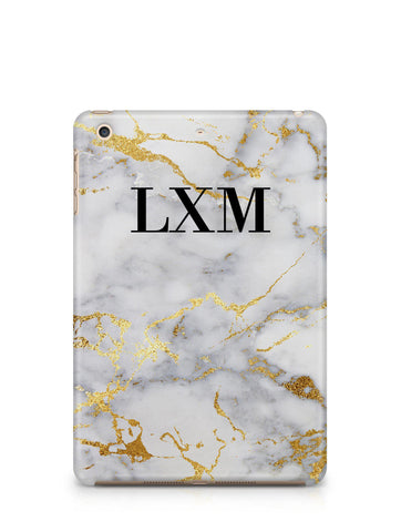 Personalised White x Gold Streaks Marble Initials iPad Case