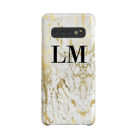 Personalised White x Gold Marble Initials Samsung Galaxy S10 Plus Case