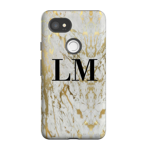 Personalised White x Gold Marble Initials Google Pixel 2 XL Case