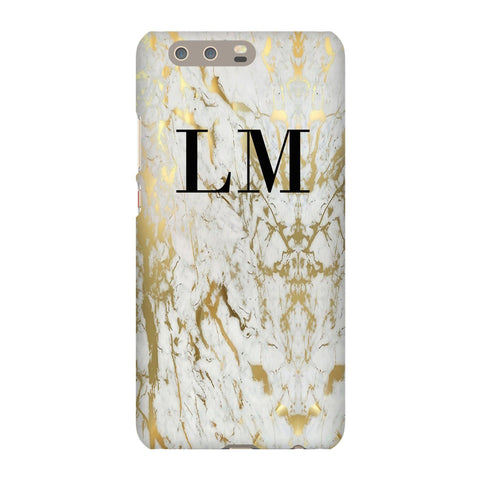 Personalised White x Gold Marble Initial Huawei P10 Plus Case