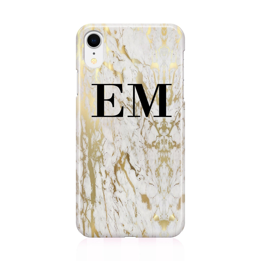 Personalised White x Gold Marble Initials iPhone XR Case