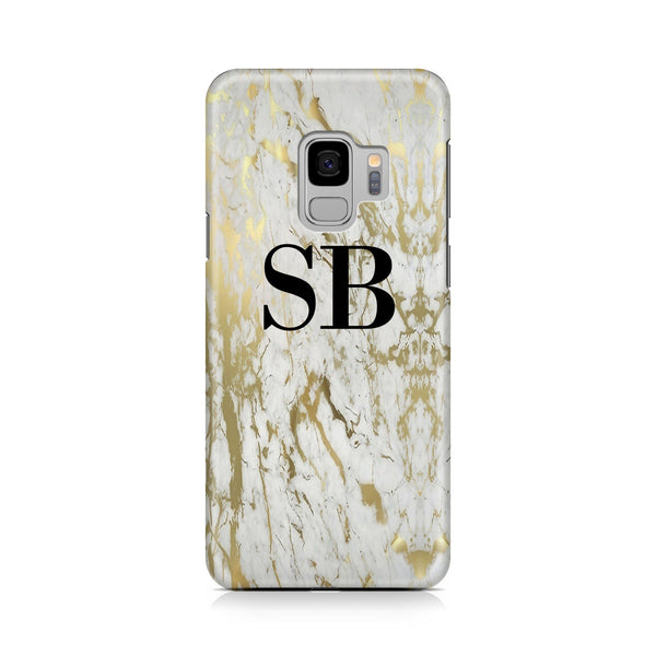 Personalised White x Gold Marble Initials Samsung Galaxy S9 Case