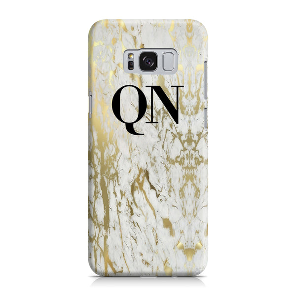 Personalised White x Gold Marble Initials Samsung Galaxy S8 Plus Case