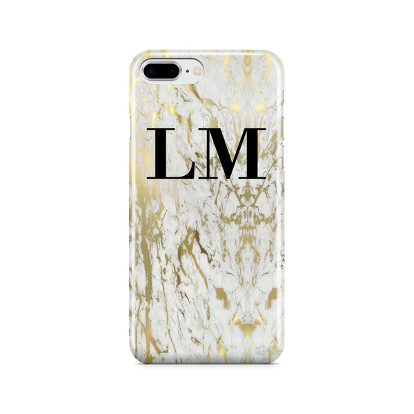 Personalised White x Gold Marble Initials iPhone 8 Plus Case
