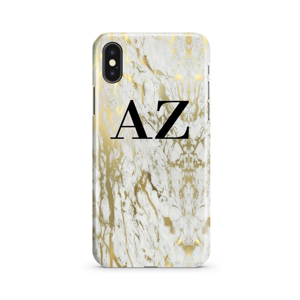 Personalised White x Gold Marble Initials iPhone XS Case