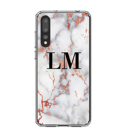 Personalised White x Rose Gold Marble Initials Huawei P20 Pro Case