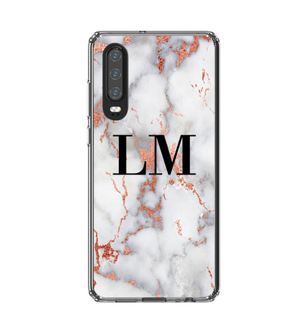 Personalised White x Rose Gold Marble Initials Huawei P30 Case