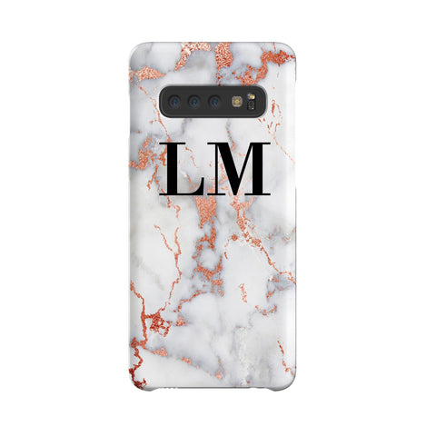 Personalised White x Rose Gold Marble Initials Samsung Galaxy S10 Plus Case