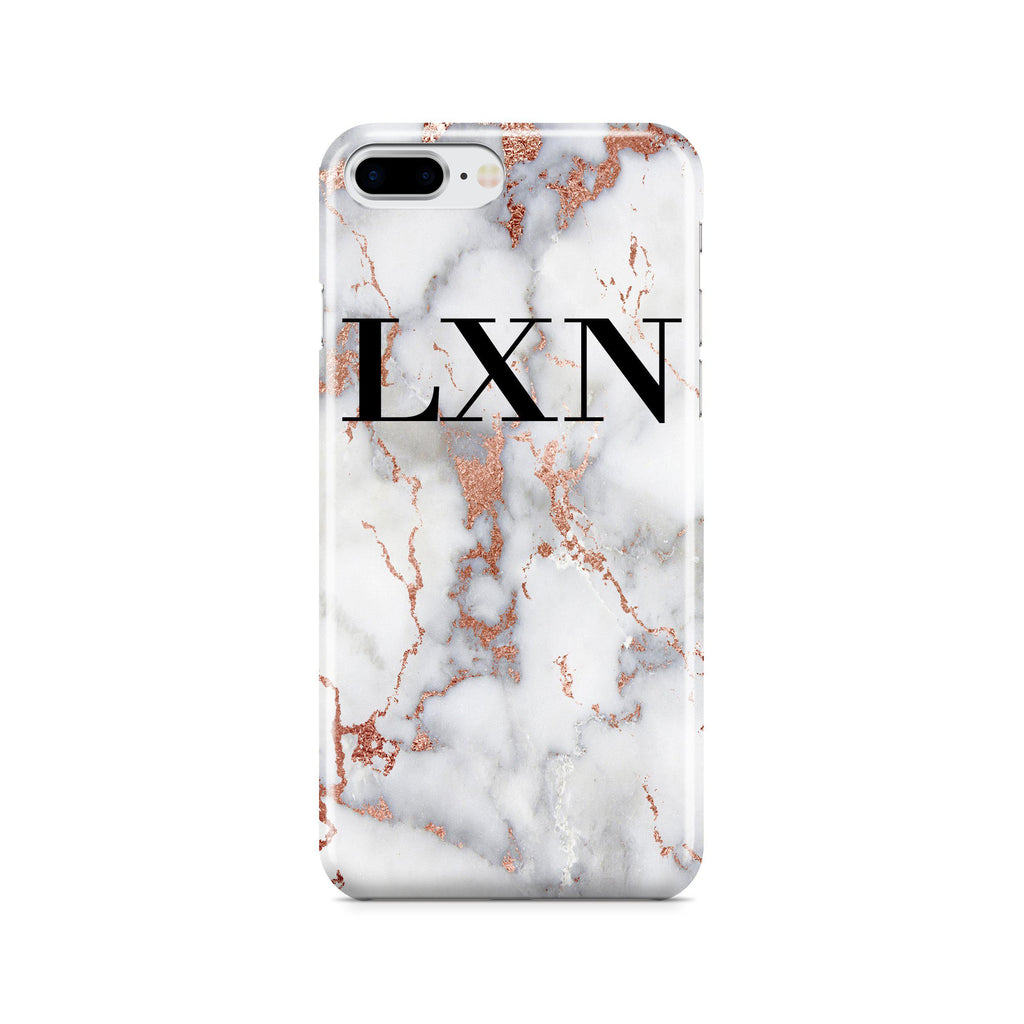 new concept 30d22 31b72 Personalised White x Rose Gold Marble Initials iPhone 7 Plus Case