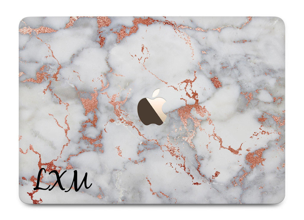 Personalised White x Rose Gold Marble Initials MacBook Case