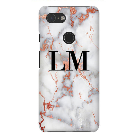 Personalised White x Rose Gold Marble Initials Google Pixel 3 Case