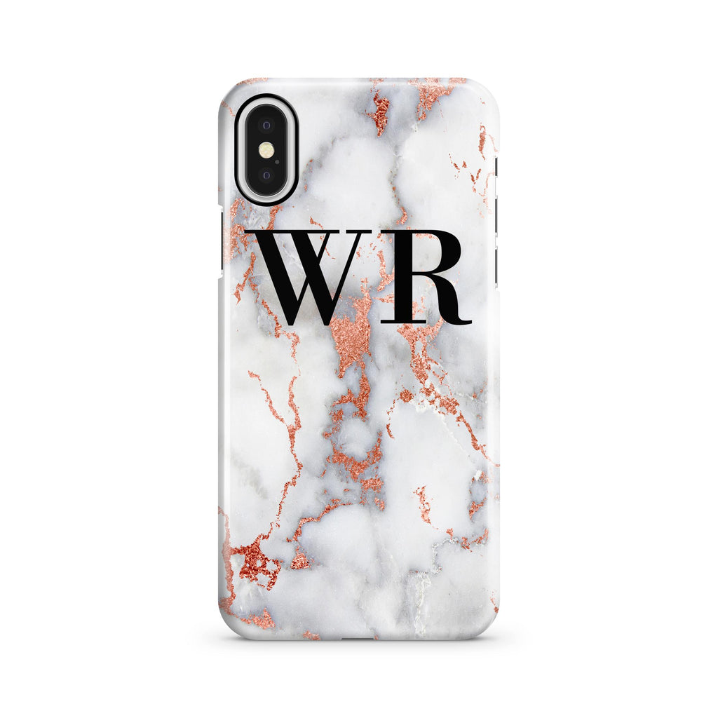 Personalised White x Rose Gold Marble Initials iPhone X Case