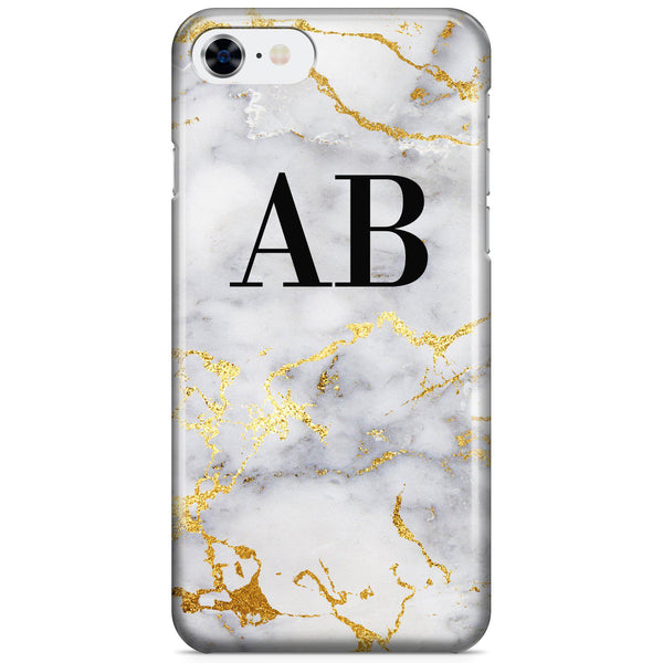 Personalised White x Gold Streaks Marble Initials iPhone 8 Case