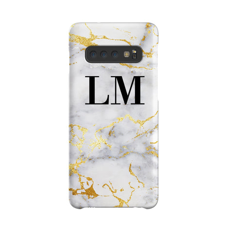 Personalised White x Gold Streaks Marble Initials Samsung Galaxy S10 Case