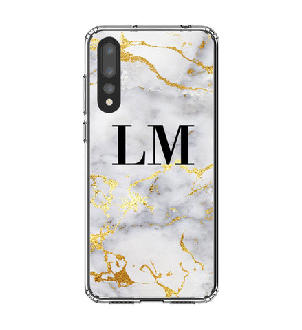 Personalised White x Gold Streaks Marble Initials Huawei P20 Pro Case