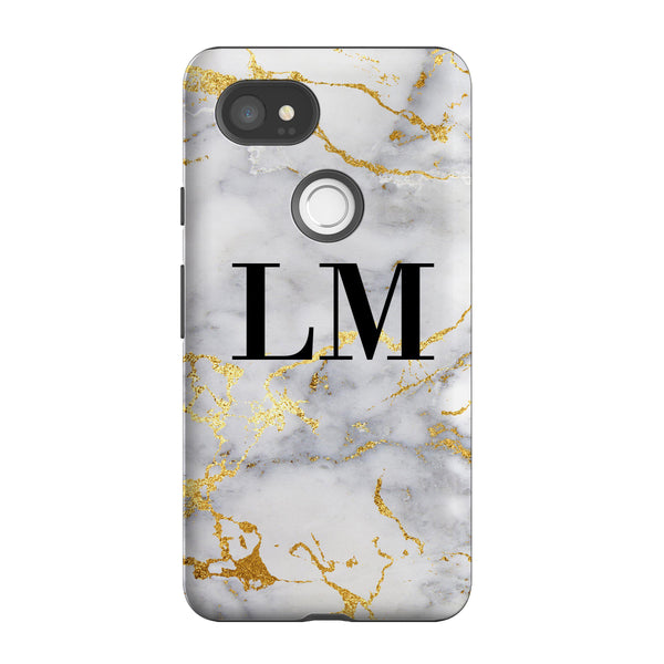 Personalised White x Gold Streaks Marble Initials Google Pixel 2 XL Case