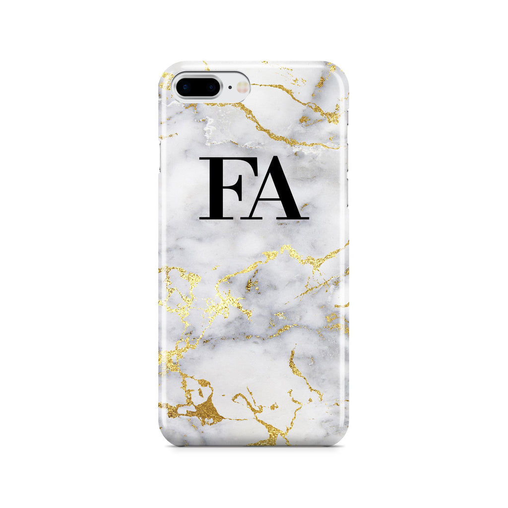 best website b4dbd 44168 Personalised White x Gold Streaks Marble Initials iPhone 7 Plus Case