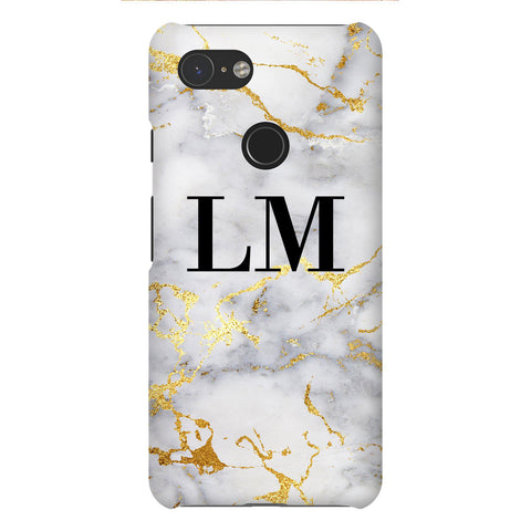 Personalised White x Gold Streaks Marble Initials Google Pixel 3 Case