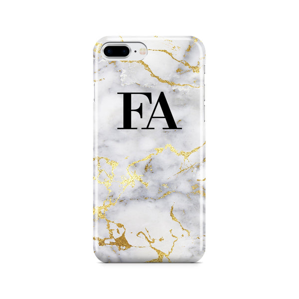 Personalised White x Gold Streaks Marble iPhone 8 Plus Case