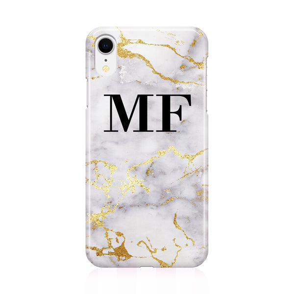 Personalised White x Gold Streaks Marble Initials iPhone XR Case