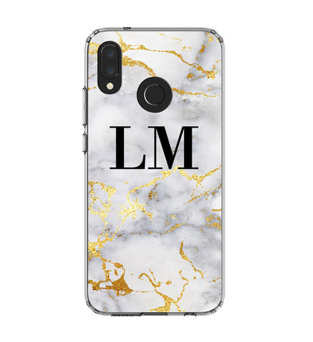 Personalised White x Gold Streaks Marble Initials Huawei P20 Lite Case