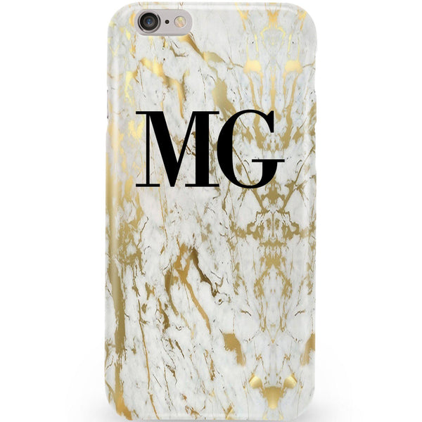 Personalised White x Gold Marble Initials Phone Case