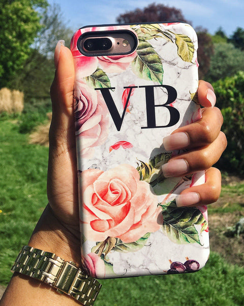 Personalised Watercolor Floral Initials Google Pixel 2 XL Case