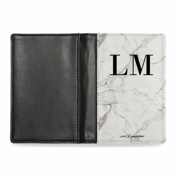 Personalised White Calacatta Marble Initials Passport Cover