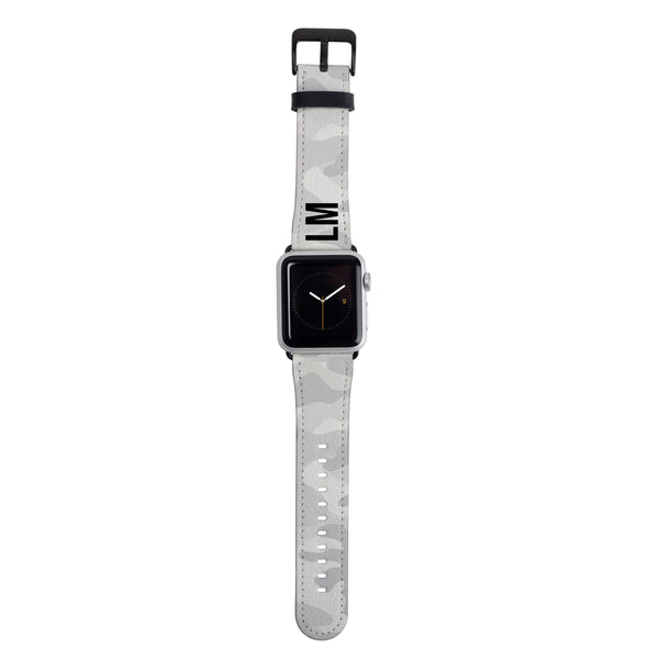 Personalised White Camouflage Apple Watch Strap