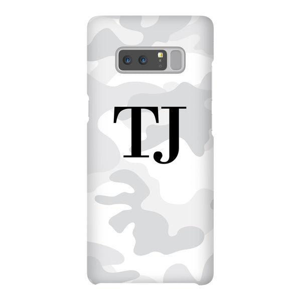 Personalised White Camouflage Initials Samsung Galaxy Note 9 Case