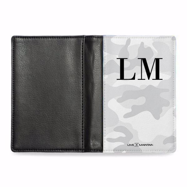 Personalised White Camouflage Initials Passport Cover