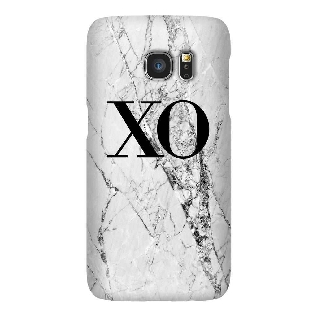 Personalised Cracked White Marble Initials Samsung Galaxy S7 Case