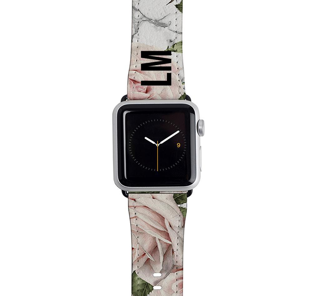 Personalised White Floral Marble Apple Watch Strap
