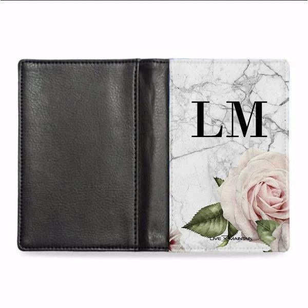 Personalised White Floral Marble Initials Passport Cover