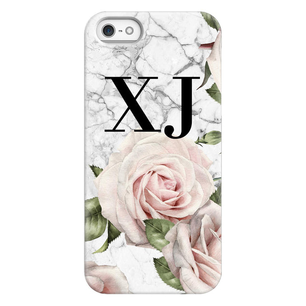 Personalised White Floral Marble Initials iPhone 5/5s/SE (2016) Case