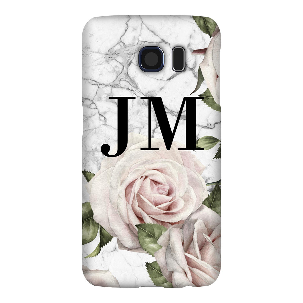 Personalised White Floral Marble Initials Samsung Galaxy S6 Edge Case