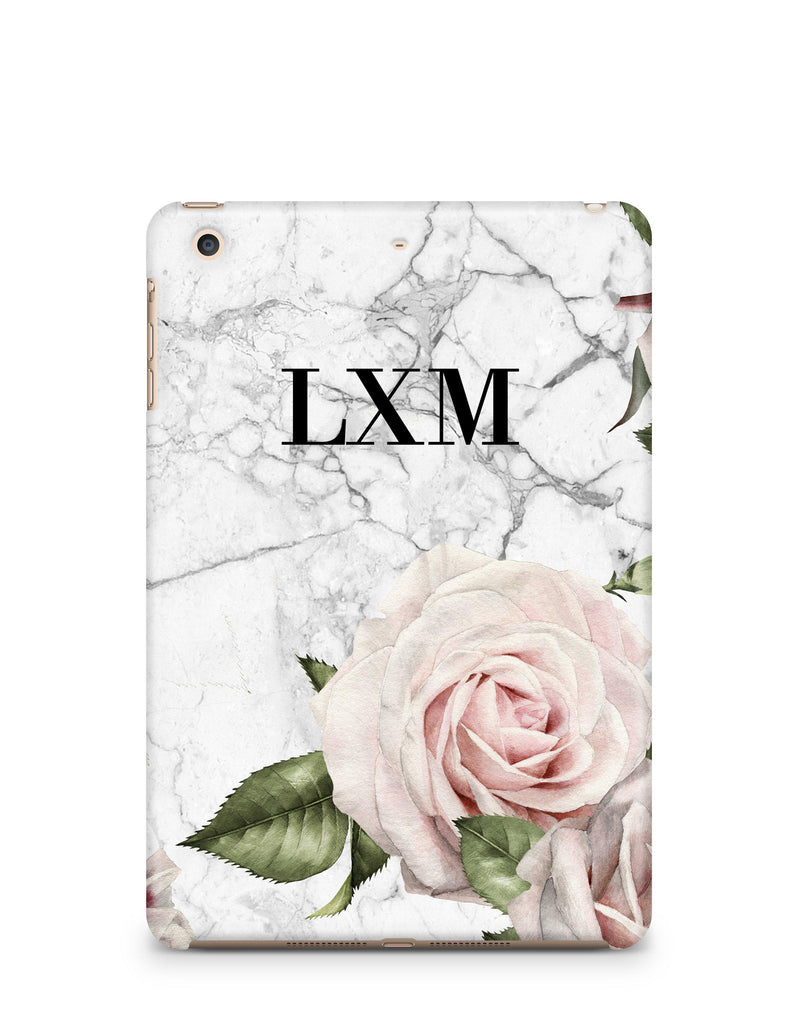 Personalised White Floral Marble Initials iPad Case