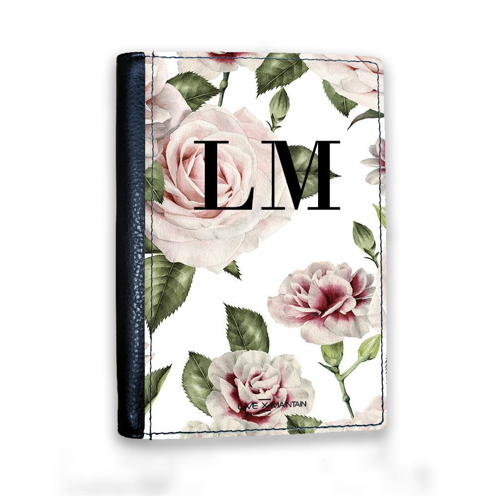 Personalised White Floral Rose Initials Passport Cover