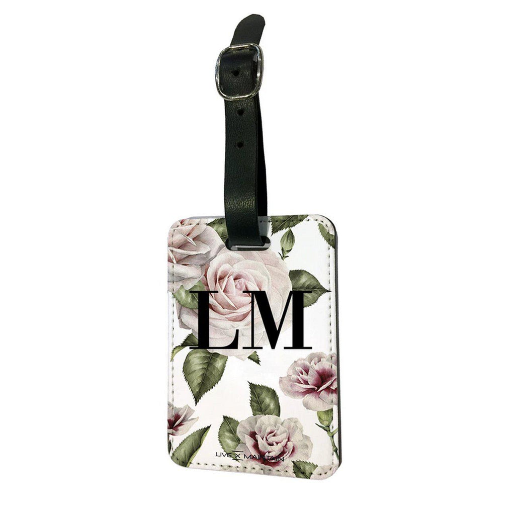 Personalised White Floral Rose Initials Luggage Tag
