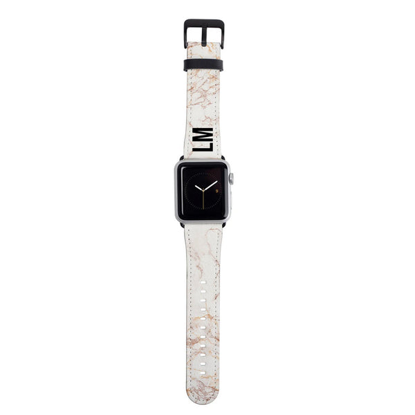 Personalised White Marble Apple Watch Strap