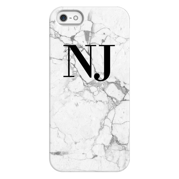 Personalised White Marble x Black Initials iPhone 5/5s/SE (2016) Case