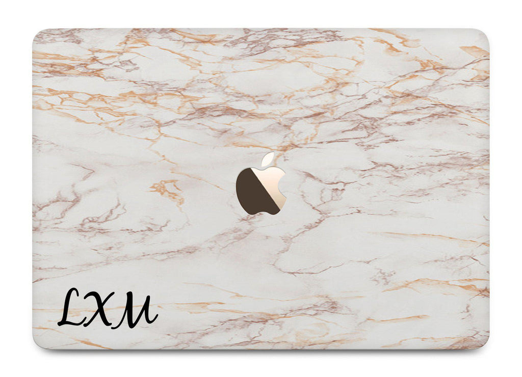 Personalised White Marble Initials MacBook Case