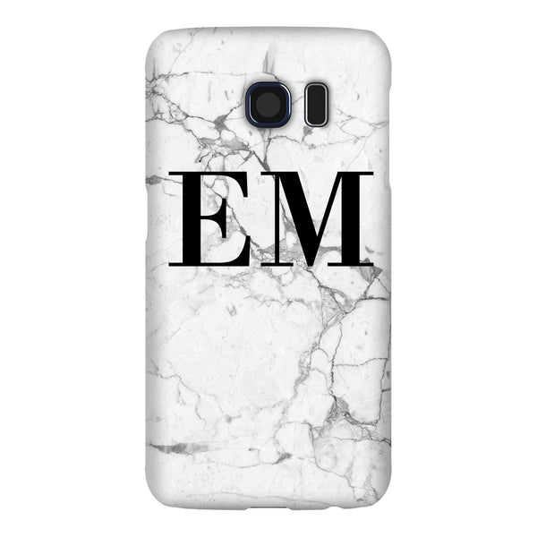 Personalised White Marble x Black Initials Samsung Galaxy S6 Edge Case